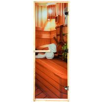 """Дверь из стекла с фотопечатью «В бане» 1,9х0,7 м, 8 мм, коробка из хвойных пород, 3 петли, в гофрокоробе, правое открывание """"Банные штучки"""" /1"""