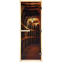 """Дверь из стекла с фотопечатью «Винный погреб» 1,9х0,7 м, 8 мм, коробка из хвойных пород, 3 петли, в гофрокоробе, правое открывание """"Банные штучки"""" /1"""