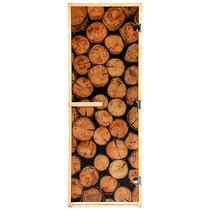 """Дверь из стекла с фотопечатью «Бревна» 1,9х0,7 м, 8 мм, коробка из хвойных пород, 3 петли, в гофрокоробе, правое открывание """"Банные штучки"""" /1"""