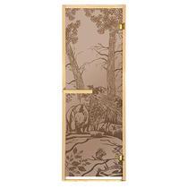 """Дверь из стекла «Мишки»1,9х0,7 м бронза МАТОВАЯ 6 мм, коробка из хвойных пород, 2 петли, в гофрокоробе,правое открывание """"Банные штучки"""" /1"""