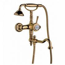 Смеситель для ванны с поворотным изливом и ручным душем, бронза Cezares GIUBILEO-VDFM2-02