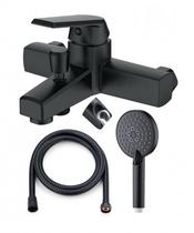 OneLife P02-300b полимерный смеситель для ванны с душ.набором, черный
