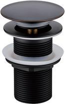 Донный клапан с переливом Boheme чёрный 612-B/2