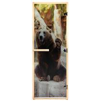 """Дверь из стекла с фотопечатью «Бурый медведь» 1,9х0,7 м, 8 мм, коробка из хвойных пород, 3 петли, в гофрокоробе, правое открывание """"Банные штучки"""" /1"""