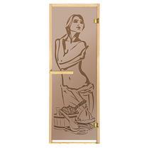 """Дверь из стекла «Искушение» 1,9х0,7 м.,бронза МАТОВАЯ 6 мм, коробка из хвойных пород, 2 петли, в гофрокоробе, правое открывание """"Банные штучки"""" /1"""