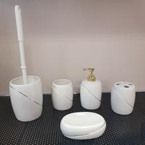 Набор аксессуаров керамический для ванной 5 в 1 белый/золото