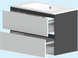 Нижний шкаф Astra-Form Альфа 2 ящика (подвесной) белый