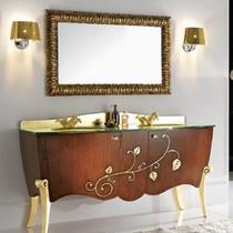 Зеркало Cezares 120x75 Noce/Foglia oro CAVALLI 1200x30x750