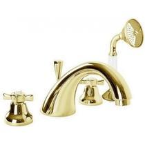 Смеситель на борт ванны с ручным выдвижным душем, золото Cezares LORD-BVD-03/24-Bi