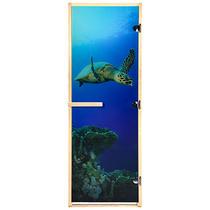 """Дверь из стекла с фотопечатью «Черепаха» 1,9х0,7 м, 8 мм, коробка из хвойных пород, 3 петли, в гофрокоробе, правое открывание """"Банные штучки"""" /1"""