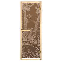 """Дверь из стекла «Мишки»1,9х0,7 м бронза 6мм, коробка из хвойных пород, 2 петли, в гофрокоробе, правое открывание """"Банные штучки"""" /1"""