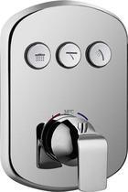 Встраиваемый термостатический смеситель с трёхпозиционным кнопочным переключателем, хром Cezares GLOBO-F-VDIM3-TB-01