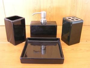 Набор аксессуаров керамический для ванной 4 в 1 люкс черный