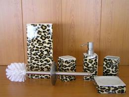 Набор аксессуаров керамический для ванной 5 в 1 леопард