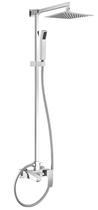 Душевая стойка со смесителем для ванны, верхним и ручным душем. Верхний душ из нержавеющей стали, хром Cezares QUATTRO-C-CVD-01-S