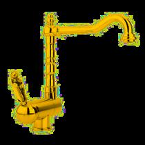 Смеситель кухонный однорычажный с регулируемым углом наклона излива, золото Cezares ELITE-LLPM2-03/24-M