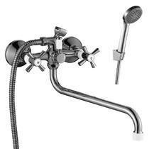 Смеситель для ванны Decoroom с ручным душем хром/белый DR46045-White