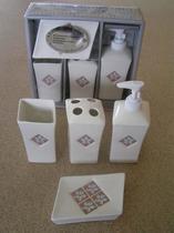 Набор аксессуаров керамический для ванной 4 в 1 цветок